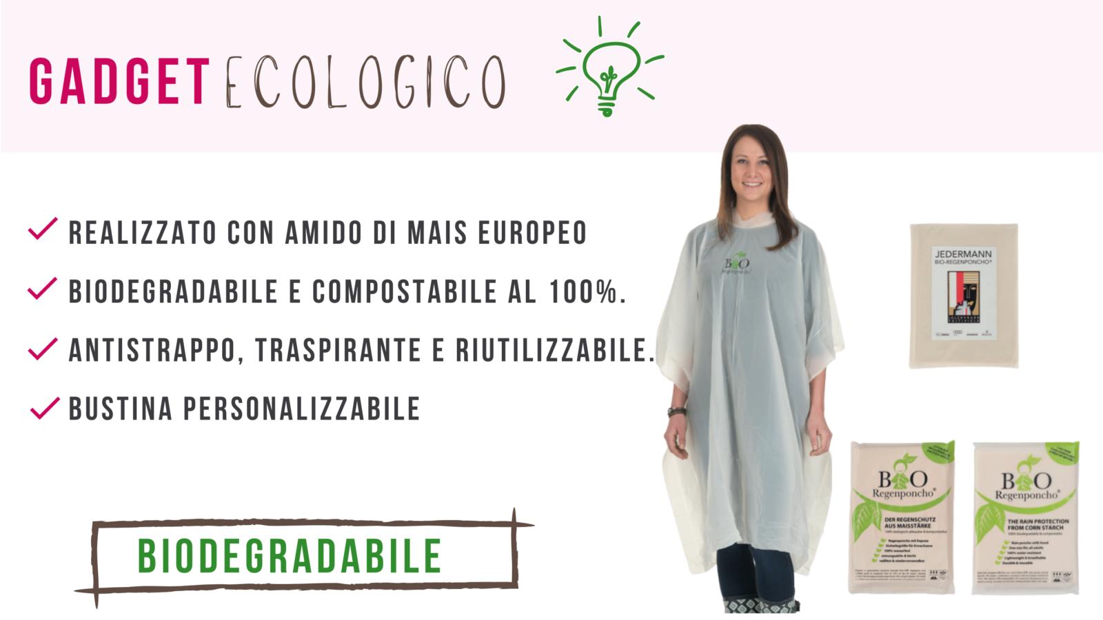 Poncho biodegradabile personalizzabile